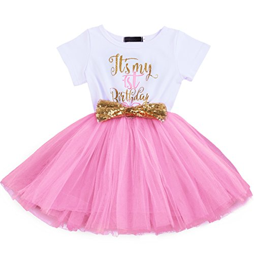 First Birthday Princess Dress - OBEEII First Second Birthday Baby Girl Tutu Dress Princess Summer Short Sleeve It's My 1st/2nd Birthday Glittering Sequin Bowknot Photography Prop