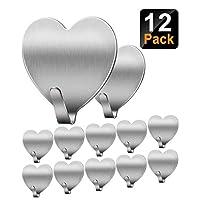 Jremreo 12 Pack Wall Hooks, Heart Shape Seamless Adhesive Hooks, Heavy Duty Stainless Steel Hooks for Hanging Keys Towels Coat in Bathroom Kitchen Sticky Hooks
