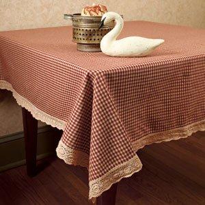 Burgundy Granny's Check Crochet Lace Trim Tablecloth 60