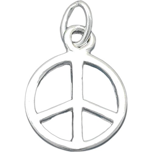(Peace Sign Charm Sterling Silver 13.5mm)