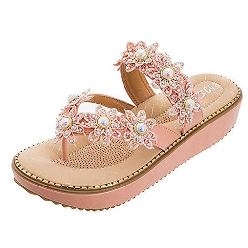 (HIRIRI Large Size Women Sandals Flower Pearl Slippers Summer Beach Sandals Rhinestone Flowers Flat Slides Sandals Pink)