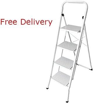 Escalera, hehi Lark Iron de escalera plegable, 4 peldaños, seguro para plegar, fácil de guardar, soporta hasta 150 kg: Amazon.es: Bricolaje y herramientas
