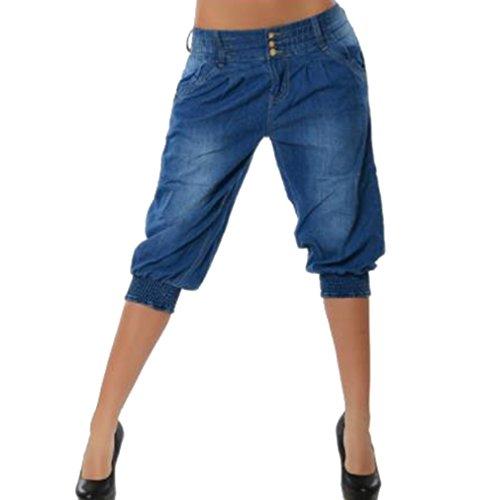 Leisure Taille S Drawstring Womens Couleurs lastiqu Recadrs Pantalons 5XL Bleu Haute Asiatique Fonc Yying 4 Jeans 4XwTgg