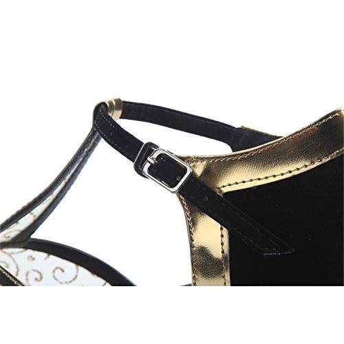 Minitoo QJ810 Womens Net PU Leather Salsa Tango Ballroom Latin Party Wedding Dance Sandals Gold FvgMT