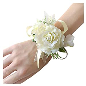 Arlai Wrist Corsage Wristband Roses Wrist Corsage for Prom, Party, Wedding Beige 2