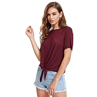 Romwe Women's Short Sleeve Tie Front Knot Casual Loose Fit Tee T-Shirt at Women's Clothing store