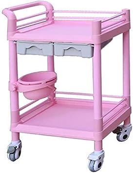 Carro de almacenamiento Carro clásico rosa 2 Cajón de belleza Nail Salon Spa Almacenamiento de Herramientas carro en el silencio de ruedas, 2 Plataforma rodante Instrumento médico for el Hospital de l