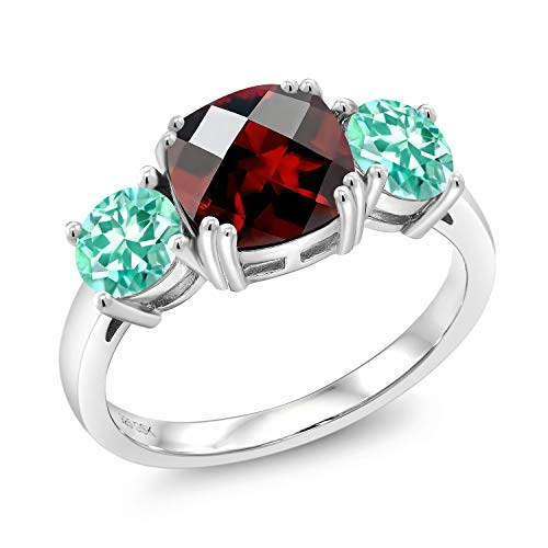 Gem Stone King 3.39 Ct Cushion Checkerboard Red Garnet Blue Apatite 925 Sterling Silver Meghan Ring (Size 8) ()