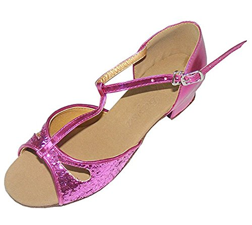Colorfulworldstore Zapatos de baile latino con lentejuelas dorados/plateadas/púrpuras y acabado en gotita púrpura