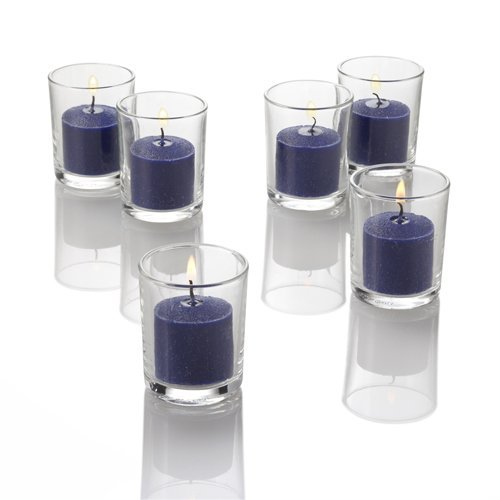 Set of 72 Navy Richland Votive Candles and 72 Holders -