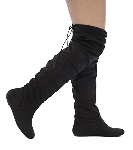 MVE Shoes Women's Faux Suede Slouchy Over The Knee Back Tie Flat Dress Boot, Black Su 7.5