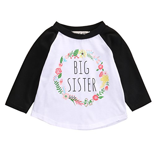 Little Brother Big Sister Toddler Baby Boy Girl Long Sleeve Matching Clothes Romper T-Shirt Tops Dress Outfits, Stripe Pants and Hat For Baby Boy Only (3-4 Years, Big Sister T-Shirt Black) (Three Sisters Kids Clothes)