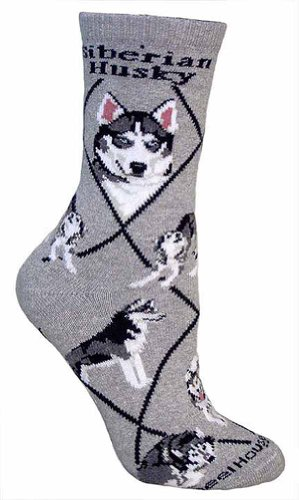 Siberian Husky (Gray) Adult Cotton Puppy Dog Socks by WHD