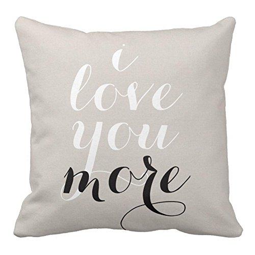 KACOPOL Inspirational Quote Throw Pillow Covers Super Soft Short Plush Home Decor Pillow Case Cushion Cover Words Sofa Square 18x18 Inches (I Love You More)
