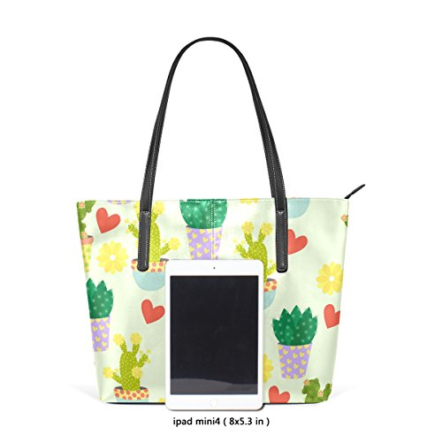Flowers Bags TIZORAX Leather Handle PU Women's Hearts Fashion Cacti And Handbag Shoulder Totes Top Purses 77qxwgr5Y