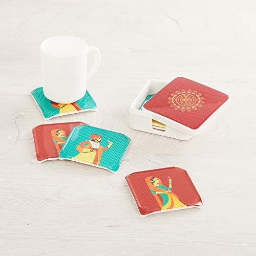 Home Centre Raisa-Retro Printed Melamine Coasters with Holder – Set of 6 Pcs. Price & Reviews