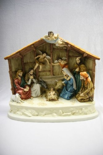 16'' Nativity Scene with Manger Baby Jesus Catholic Christmas Statue Sculpture Figure Vittoria Collection Made in Italy by Shop Italian Statues