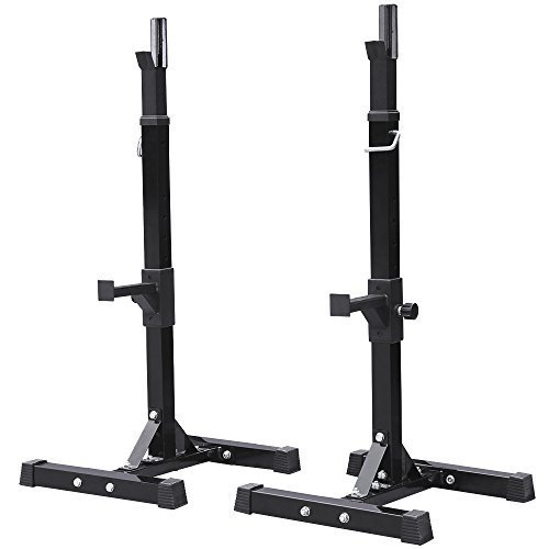 Topeakmart Squat Stands Barbell Rack Dip Stand Free Press Bench