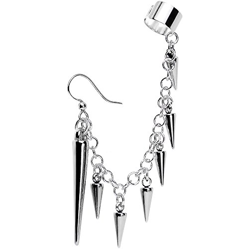 Chain Hook Earrings (Body Candy Handcrafted Silver Plated Studded Spike Fish Hook Earring to Ear Cuff Chain Set)
