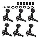 kesoto 6Pcs Metal Tuning Pegs Machine Heads 6R 1:18 Gear Ratio Black for Acoustic/Electric Guitar Replacement Parts
