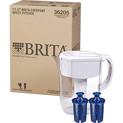 Brita Pitchers Clorox Large 10 Cup Everyday Bundle with Bonus Longlast Filtered Water Pitcher w 2