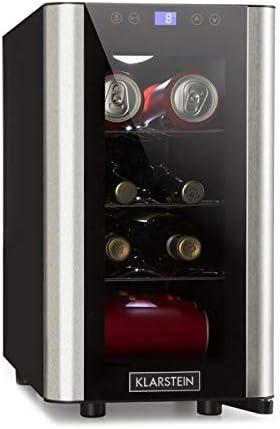 Klarstein Vinovista Picollo - Refrigerador para bebidas, Nevera para vinos, 24L, 8 botellas, 3 rejillas de metal, Iluminación LED, Silencioso, Temperatura de 8 °-18 °C, Negro-Plateado