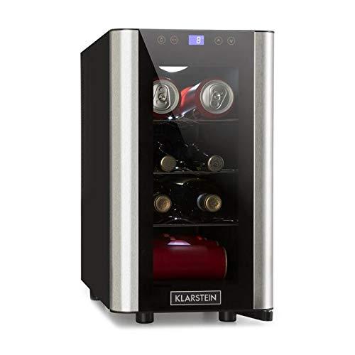 Klarstein Falcon Crest Beverage Cooler /• Glass Door /• 4-18/°C /• 128 Litres /• 48 Wine Bottles /• Lockable /• 42dB /• Elegant /• High Performing /• Touch Panel /• Blue LED /• Stainless Steel /• Black//Sil