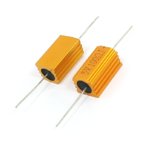 Uxcell a14010900ux0141 5% 5W 100 Ohm Wirewound Aluminum Housed Resistor Gold Tone, 2 ()