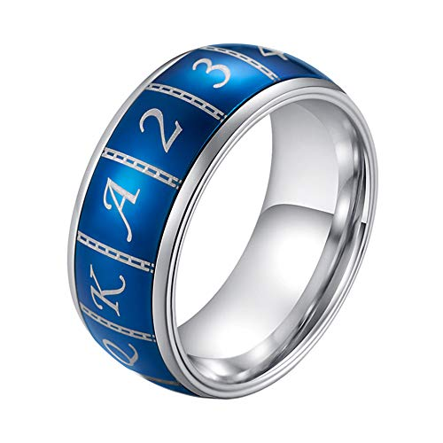 INRENG Men's 9mm Stainless Steel Poker Card Number Funny Spinner Ring Blue Domed Lucky Band Size 7