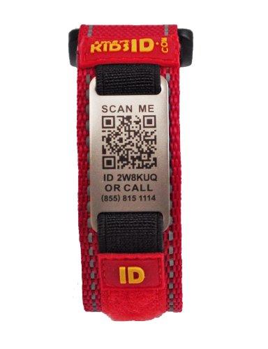 SmartKidsID Child ID/Medical ID bracelet using QR Code - No engraving necessary! Unlimited editing! (Medium, Red) (9 Inch Adjustable Linked Bracelet)
