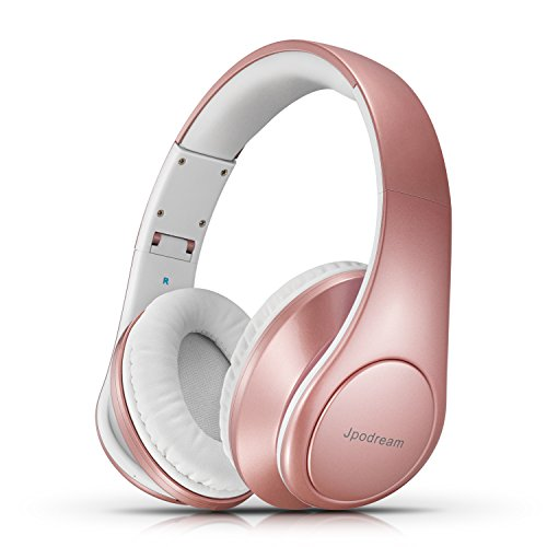 Bluetooth Headphones Over Ear, Wireless Stereo Headset with Deep Bass, Foldable and Lightweight, Wired and Wireless Two Modes for Cell Phone, TV, PC and Traveling by Jpodream – Rose Gold