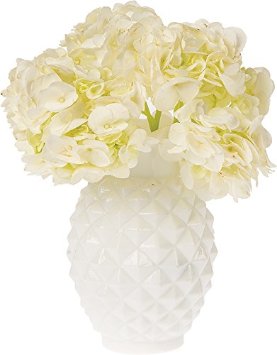 Luna Bazaar Vintage Milk Glass Vase (6-Inch, Willa Ruffled Pineapple Design, White) - Decorative Flower Vase - For Home Decor and Wedding Centerpieces - Ruffled Glass