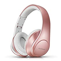 Over Ear Headphones, Hi-Fi Stereo Wireless Bluetooth Headset, Foldable, Soft Memory-Protein Earmuffs, Built-in Mic and Wired Mode for PC/Cell Phones/TV by Jpodream (RoseGold)