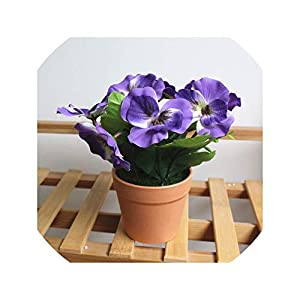Artificial Flower Plants Potted Indoor Simulation Green Plants Small Bonsai Silk Flower for Wedding Home Office Decorate Bonsai,3 47
