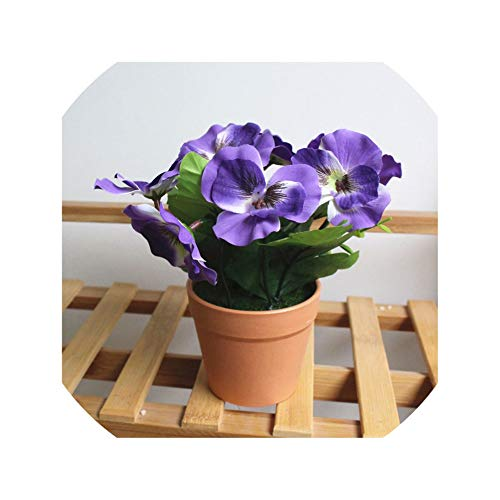 Artificial Flower Plants Potted Indoor Simulation Green Plants Small Bonsai Silk Flower for Wedding Home Office Decorate Bonsai,3 ()