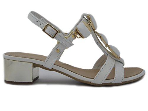 Prativerdi Sandalo gioiello in pelle bianco, tacco 4cm., suola antiscivolo, 216M75 e17