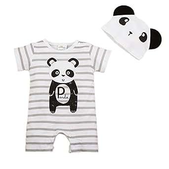 Bebone Mameluco Pelele Bebé Niños Niñas Pijama de Rompers Manga Corta con Gorro (Panda,3-6M)