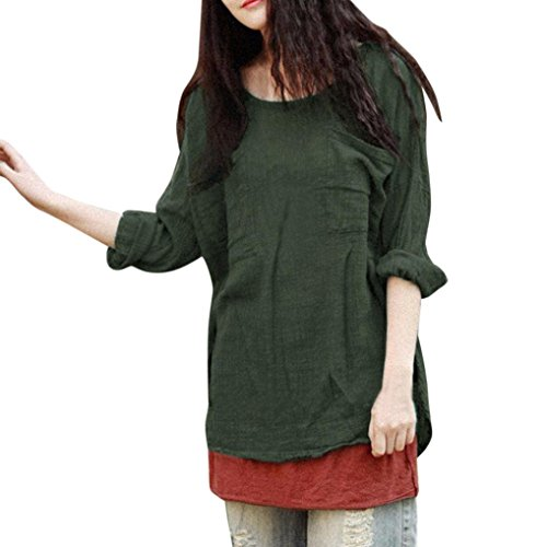 Sleeve Silk Charmeuse Dress - Syban Womens Cotton Linen Thin Section Loose Long-Sleeved Blouse T-Shirt Pullover