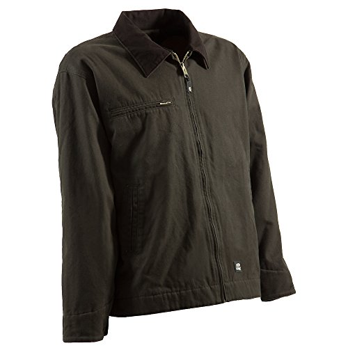 Berne Mens Olive Duck 100% Cotton Gasoline Jacket L (Bi Layer Jacket)