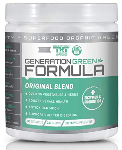 Generations Green - Generation Greens Powder | Organic Superfood Powder with 60 Powerful Ingredients | Chlorella, Spirulina, Wheat Grass and CoQ10 Included | 30 Servings, Original