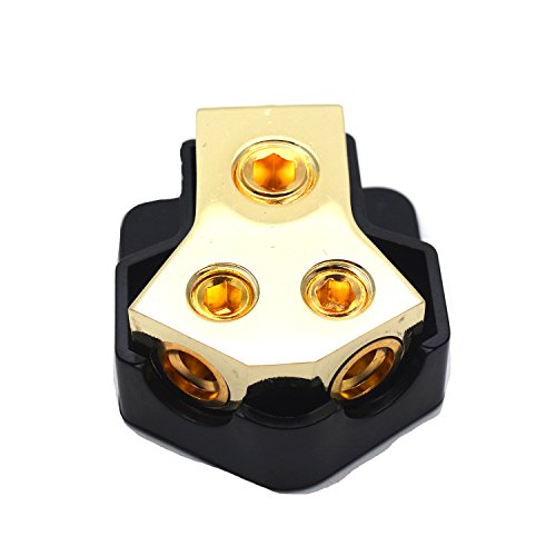 Sydien Car Audio Gold 2 Way Outputs Power Distributor Block Fuse Holder 1x0GA Input 2x4GA Output by Sydien (Image #1)