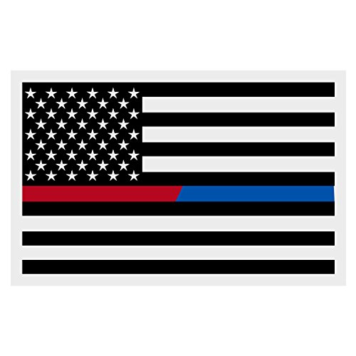 Black American Flag Red Line Blue Line Small Reflective D...