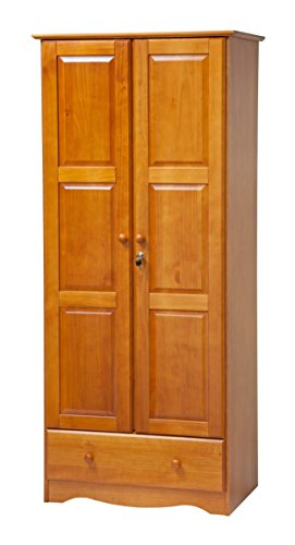 100% Solid Wood Flexible Wardrobe/Armoire/Closet by Palace Imports, Honey Pine Color, 32''W x 72''H x 21''D. 1 Shelf, 1 Clothing Rod, 1 Drawer, 1 Lock Included. Additional Shelves Sold Separately. by Palace Imports