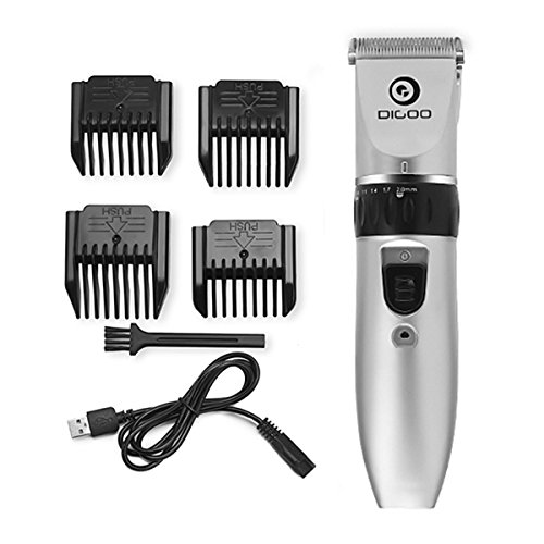 DIGOO Rechargeable Cordless Dogs Cats Grooming Clippers,Professional Pets Hair Trimmer, Pet Hair Clipper Grooming Kit with Low Noise,Comb Guides and USB Charging Cord for Dogs Cats and Other Animals