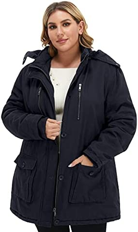 Soularge Women's Winter Plus Size Thickened Cotton Coat with Detachable Hood