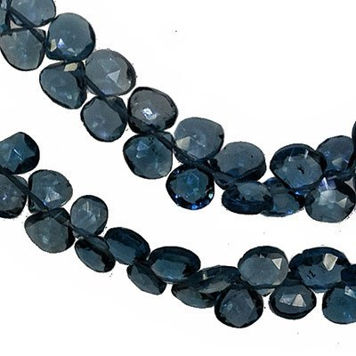 Blue Topaz Briolette Beads - London Blue Topaz Heart Faceted Briolette Beads Small 5mm (Qty=10)