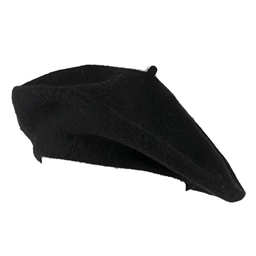 Hat To Socks Wool Blend French Beret for Men and Women in Plain Colours (Black) -
