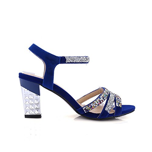 Amoonyfashion Kvinna Kick-häl Frostat Fast Spänne Öppen Sandaletter Blå