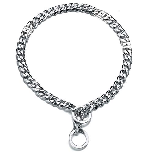 (Abaxaca Adjustable Slip Dog Choke Collar Small Stainless Steel Chew Proof Durable 15mm Cuban Link Chain Choker for Strong Breeds Pitbull Heavy Duty Curb White (S, White))