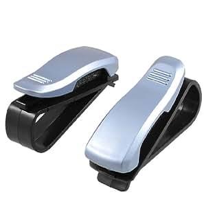 uxcell® Light Blue Plastic Car Vehicle Sunglasses Clip Holder 2 Pcs